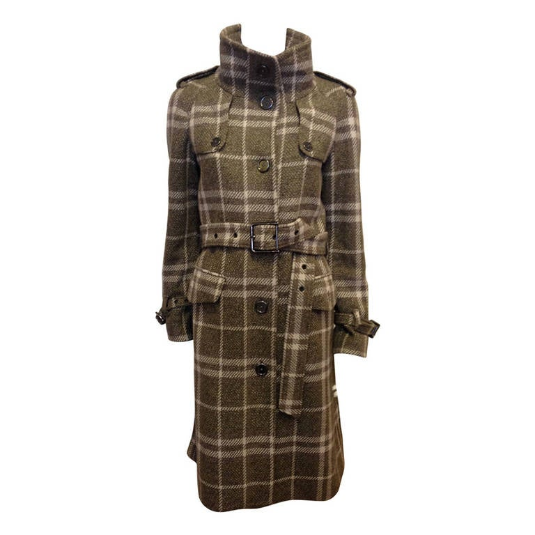Burberry Olive and Cream Plaid Coat For Sale