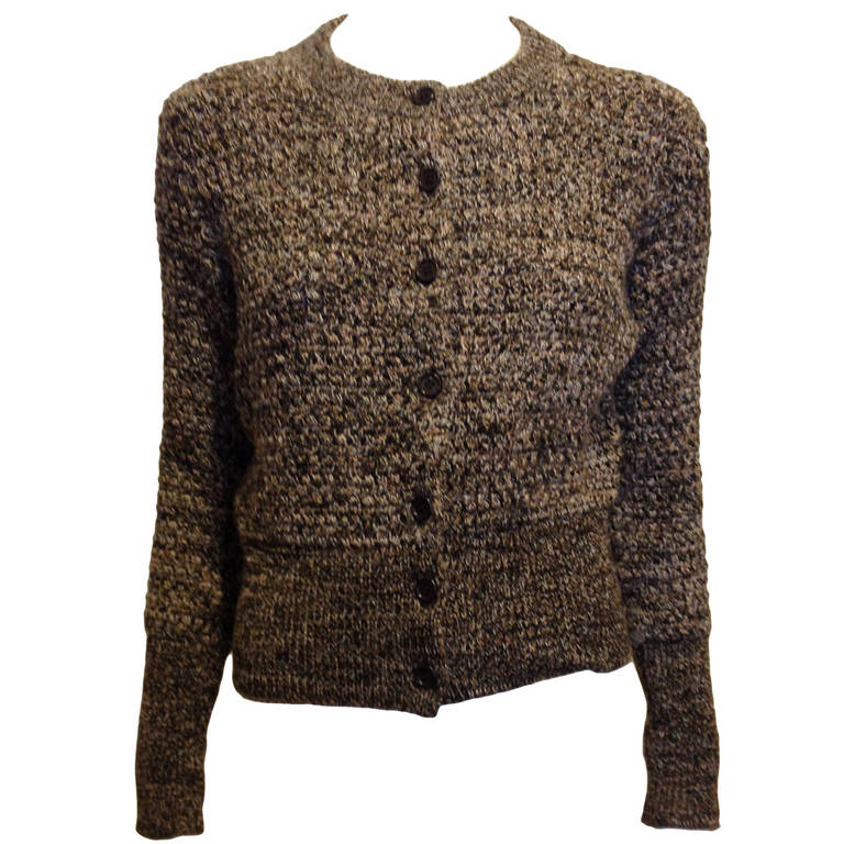Prada Brown and Tan Knit Cardigan 1