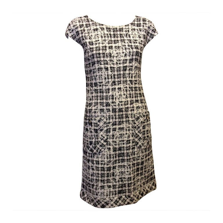 Chanel Black and White Tweed Dress with Camellia 1