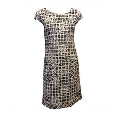 Chanel Black and White Tweed Dress with Camellia