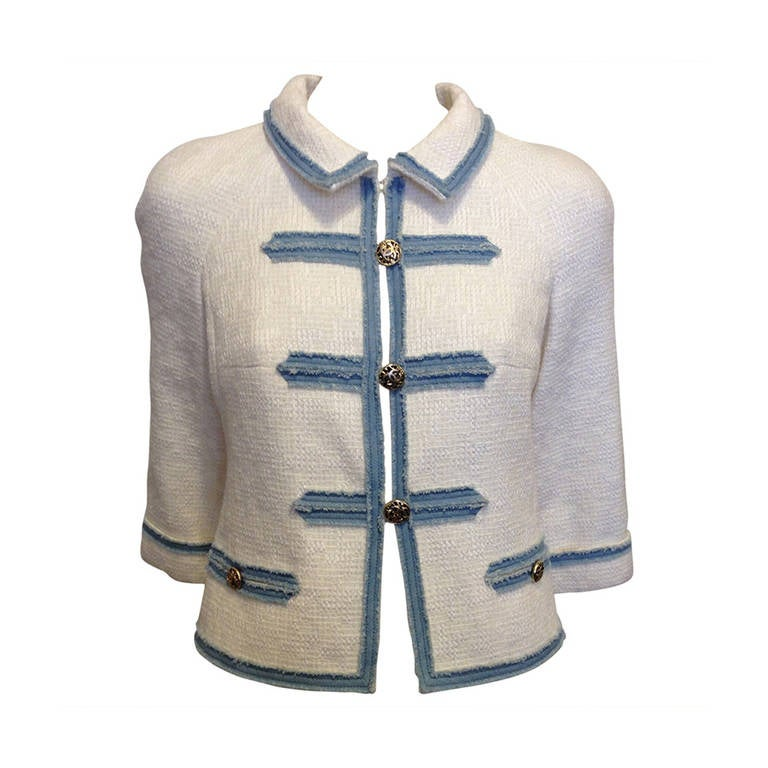 Chanel White Tweed Jacket with Blue Denim Trim For Sale