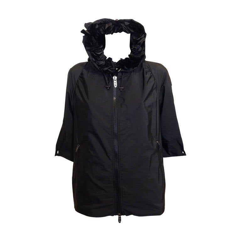 Ermanno Scervino Black Hooded Nylon Jacket at 1stdibs