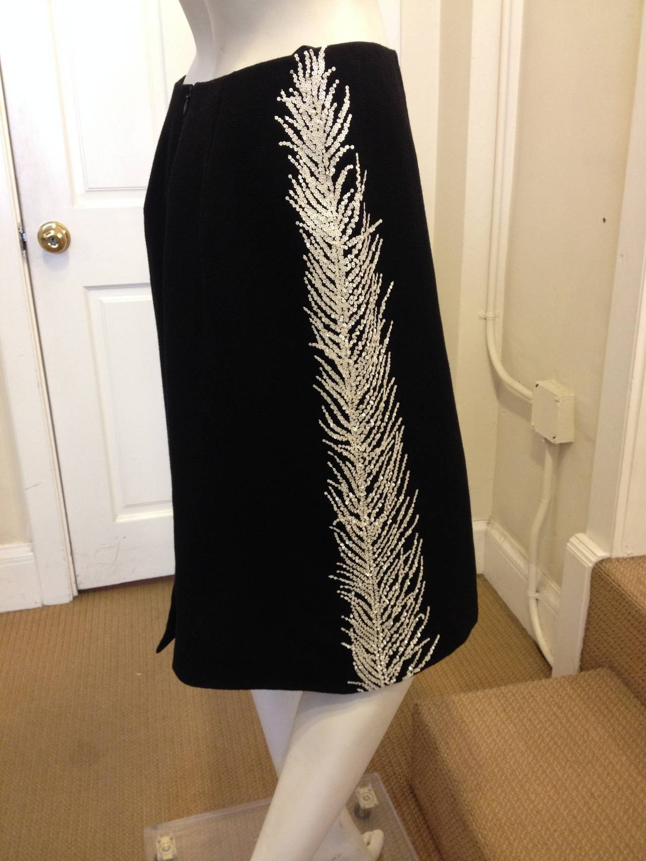 Vera Wang Black Skirt with White Sequin Detailing 2