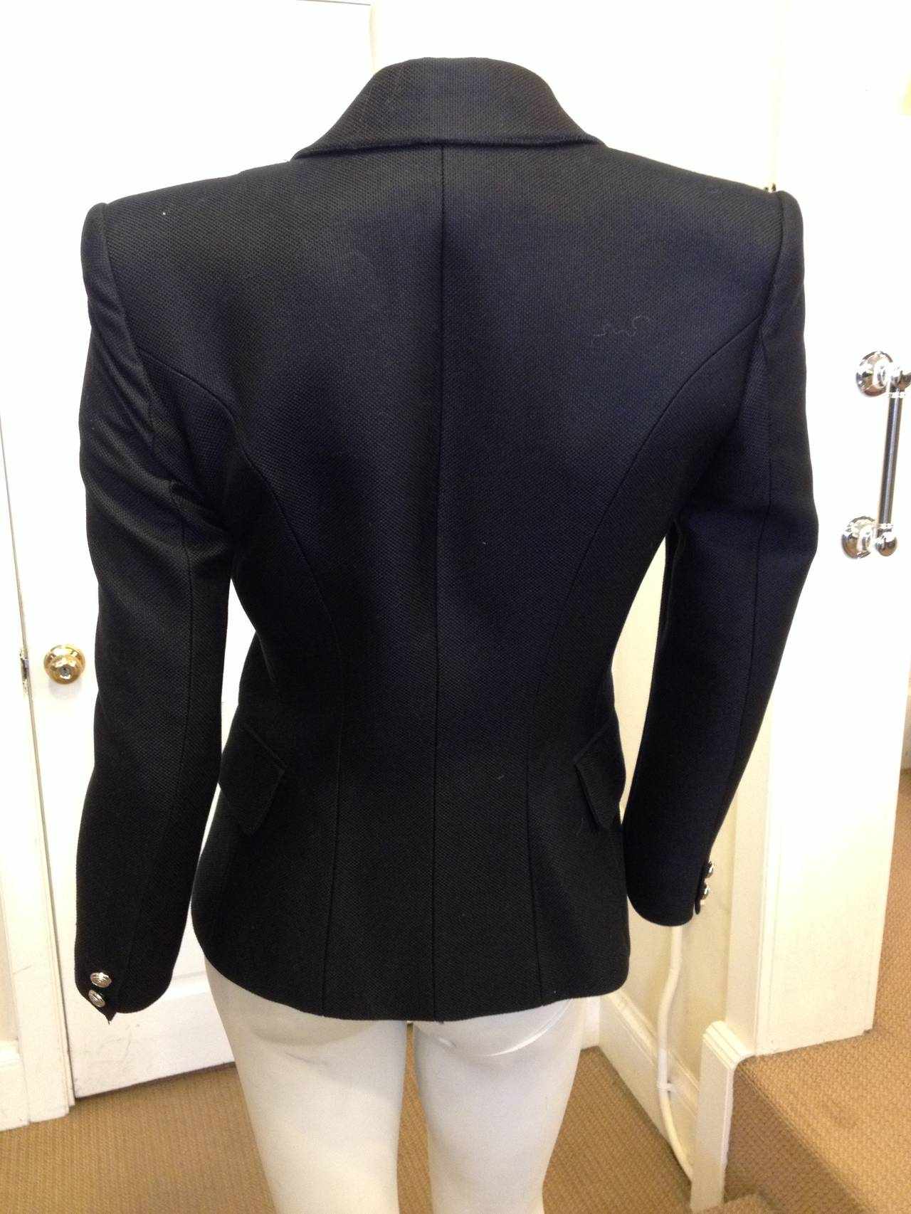 Balmain Black Blazer with Silver Buttons 6