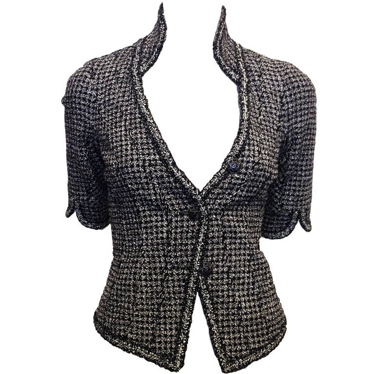 Chanel Black and White Tweed Fitted Jacket 1