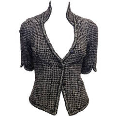 Chanel Black and White Tweed Fitted Jacket