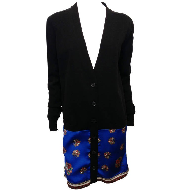 Givenchy Black Cardigan Dress with Silk Scarf Hem 1