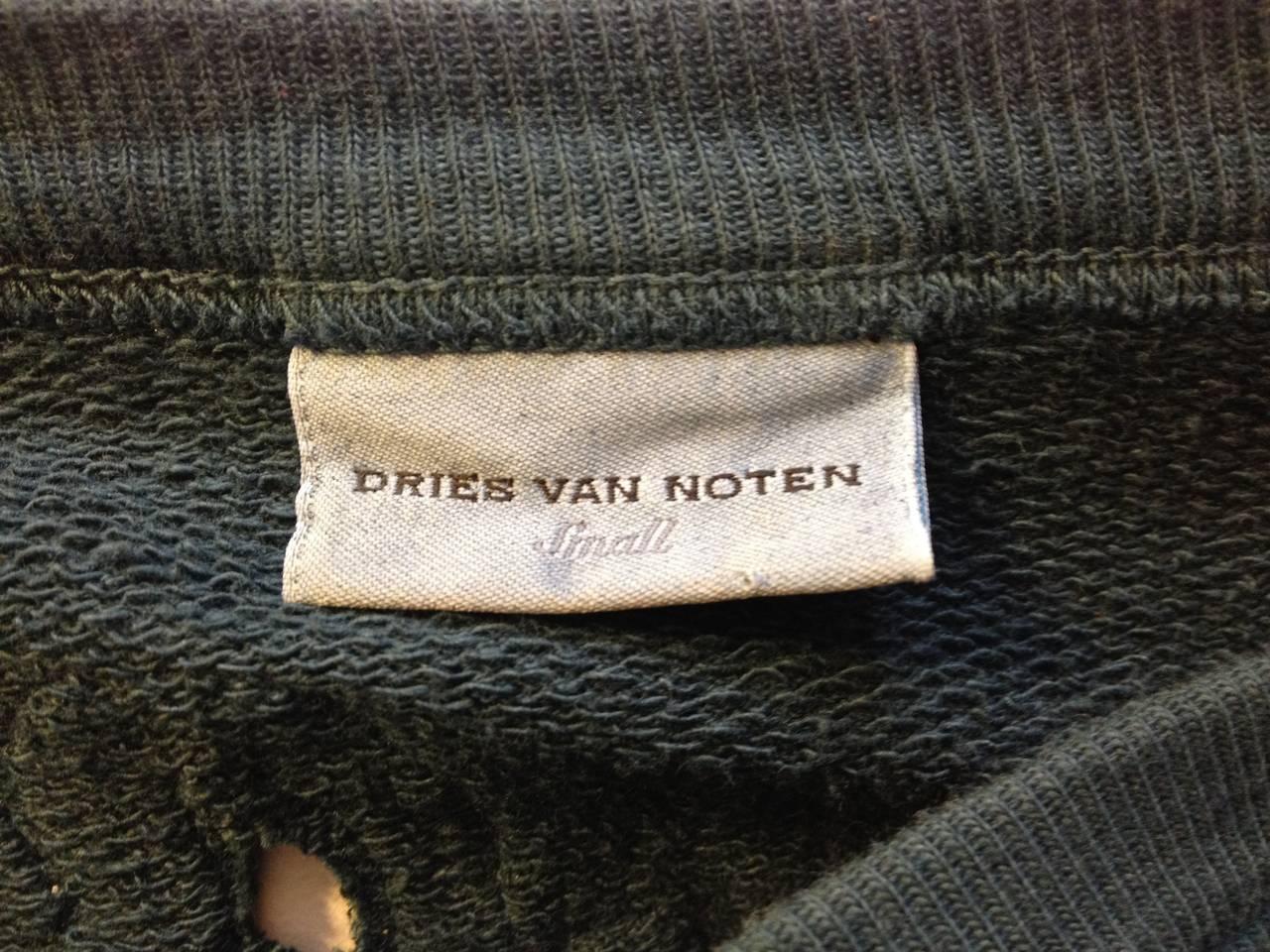 Dries Van Noten Teal Green Cutout Embroidered Sweatshirt 7