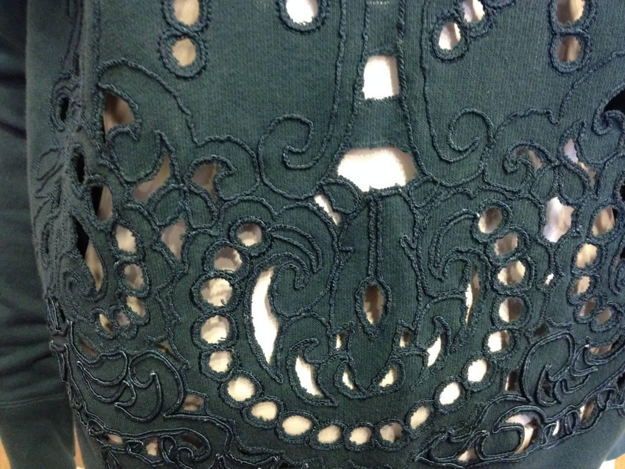 Dries Van Noten Teal Green Cutout Embroidered Sweatshirt 3