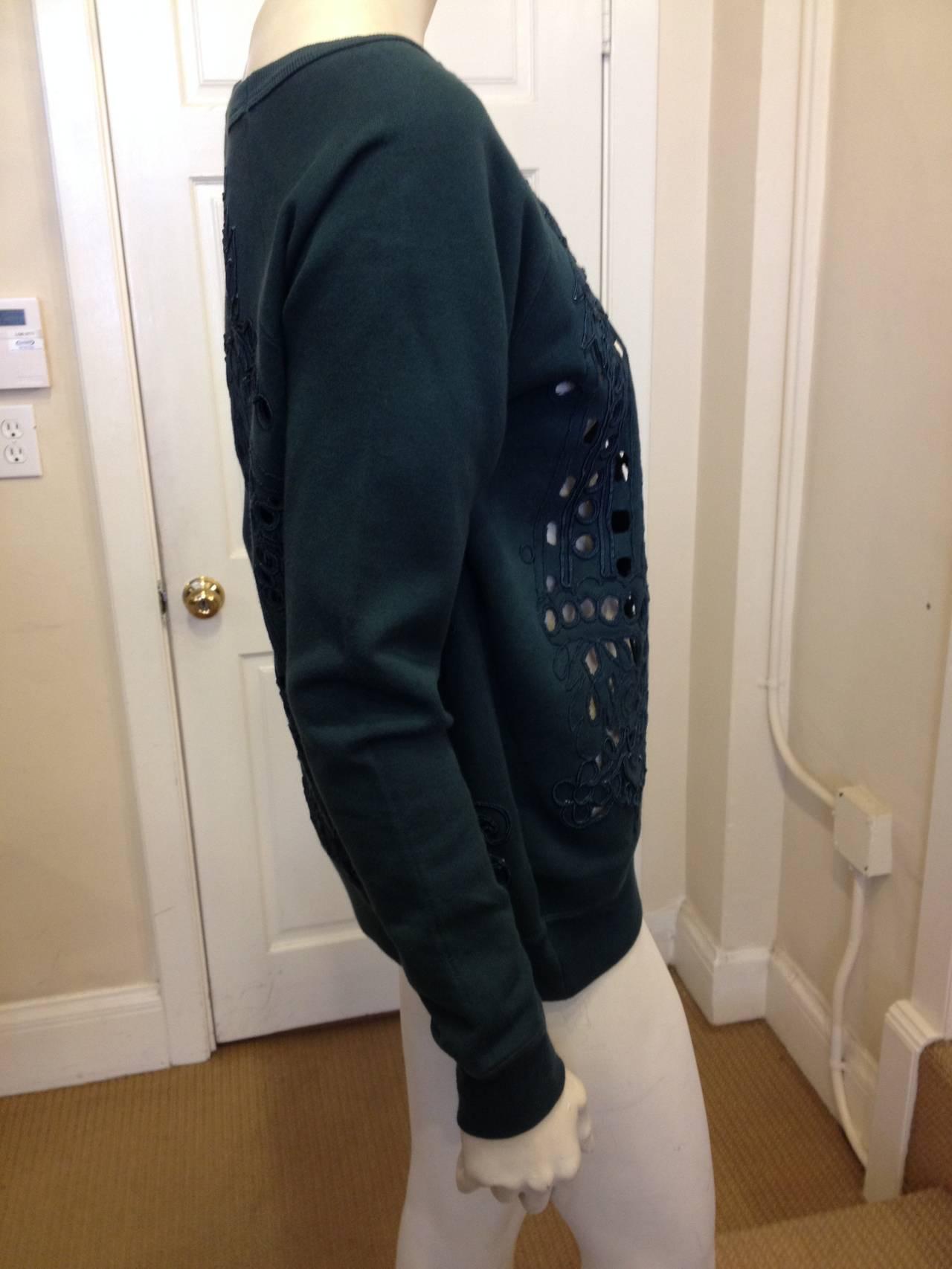 Dries Van Noten Teal Green Cutout Embroidered Sweatshirt 4