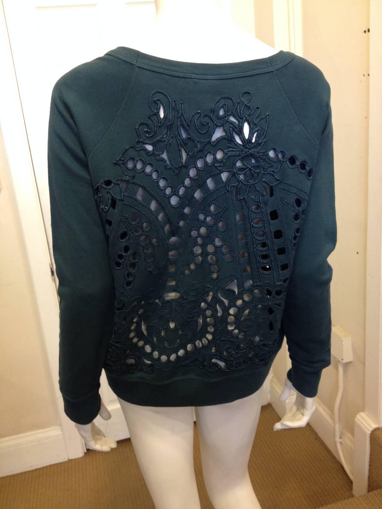 Dries Van Noten Teal Green Cutout Embroidered Sweatshirt 5