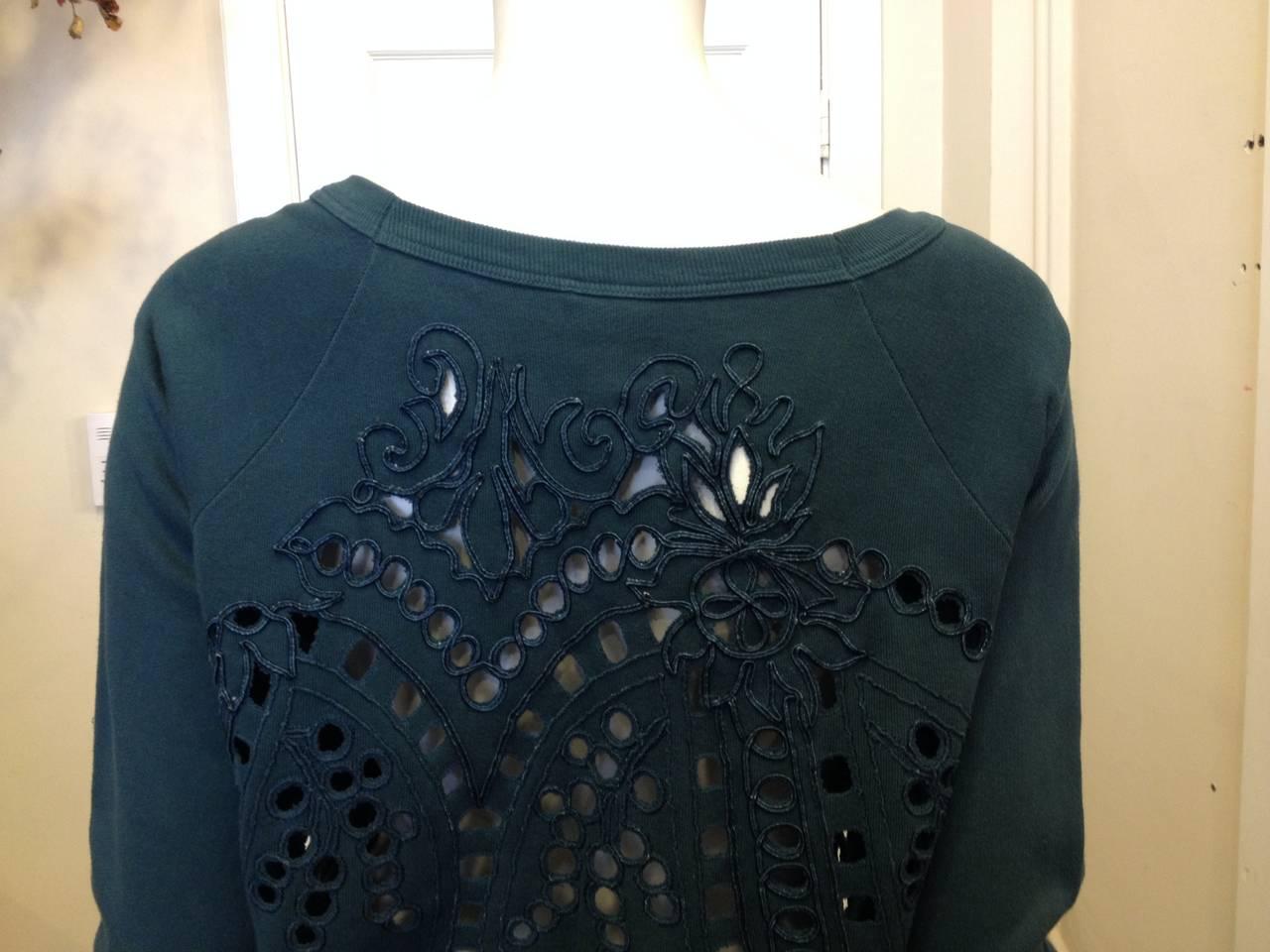 Dries Van Noten Teal Green Cutout Embroidered Sweatshirt 6