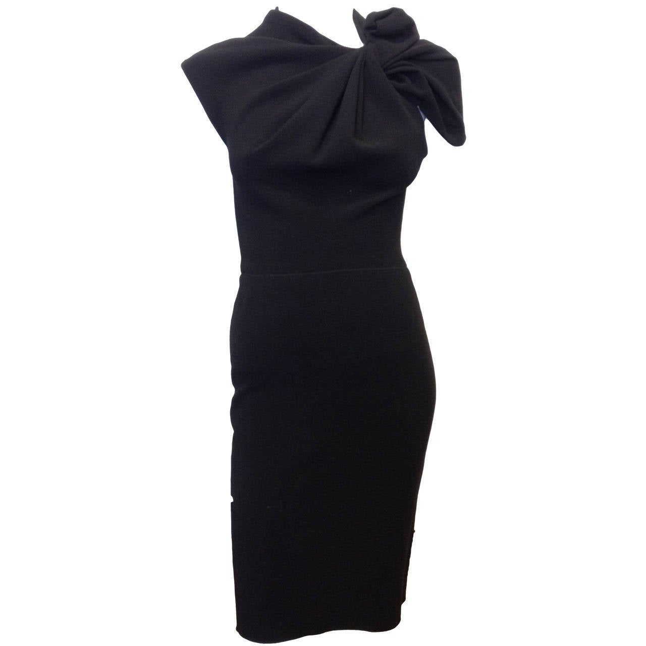 Lanvin Black Cocktail Dress with Bow For Sale