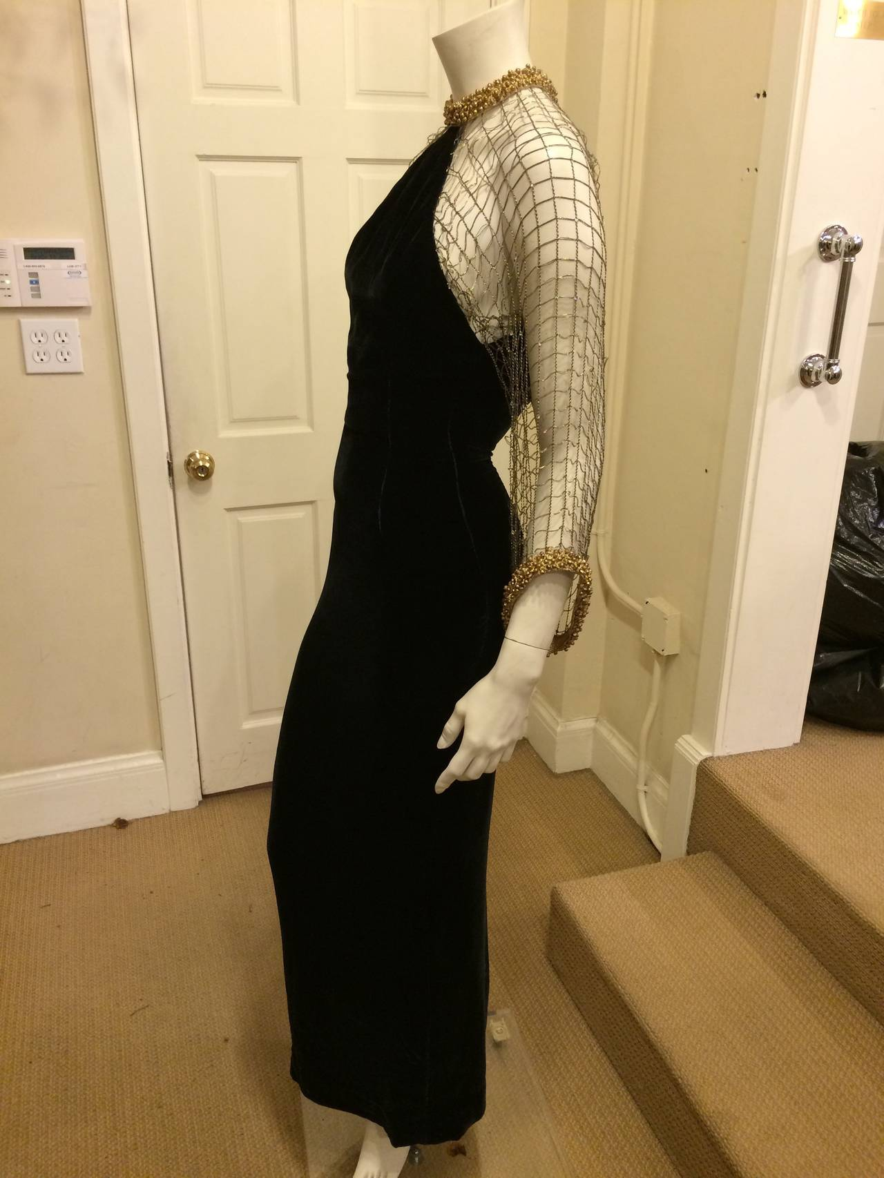 Oscar de la Renta Black Velvet Gown with Gold Netting 3