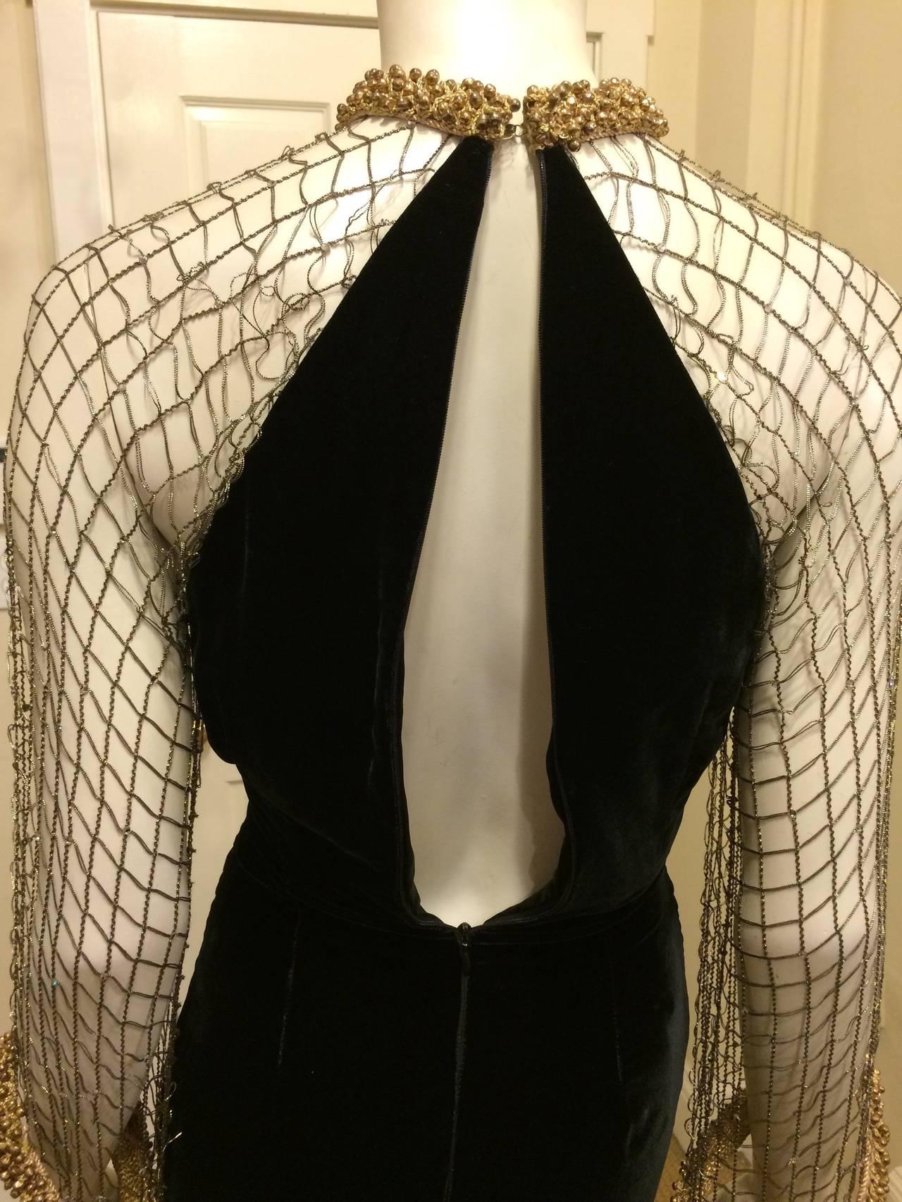 Oscar de la Renta Black Velvet Gown with Gold Netting 6