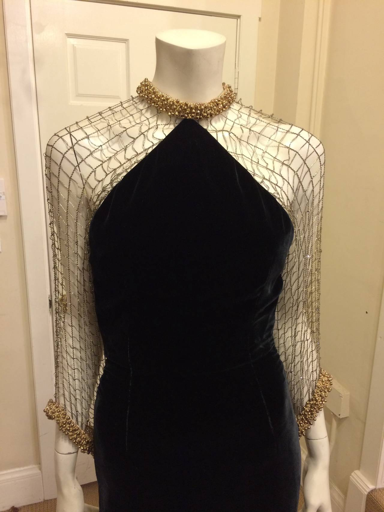 Oscar de la Renta Black Velvet Gown with Gold Netting 2