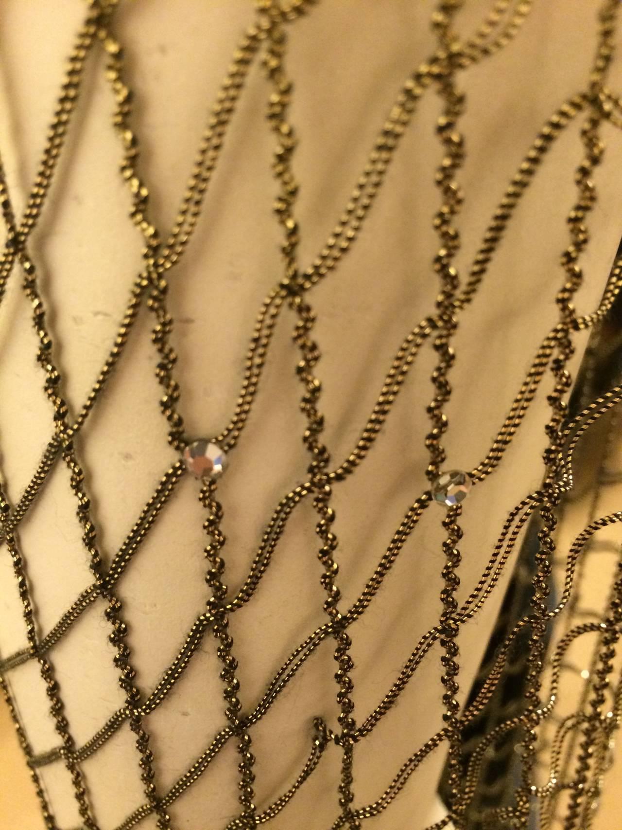 Oscar de la Renta Black Velvet Gown with Gold Netting 7