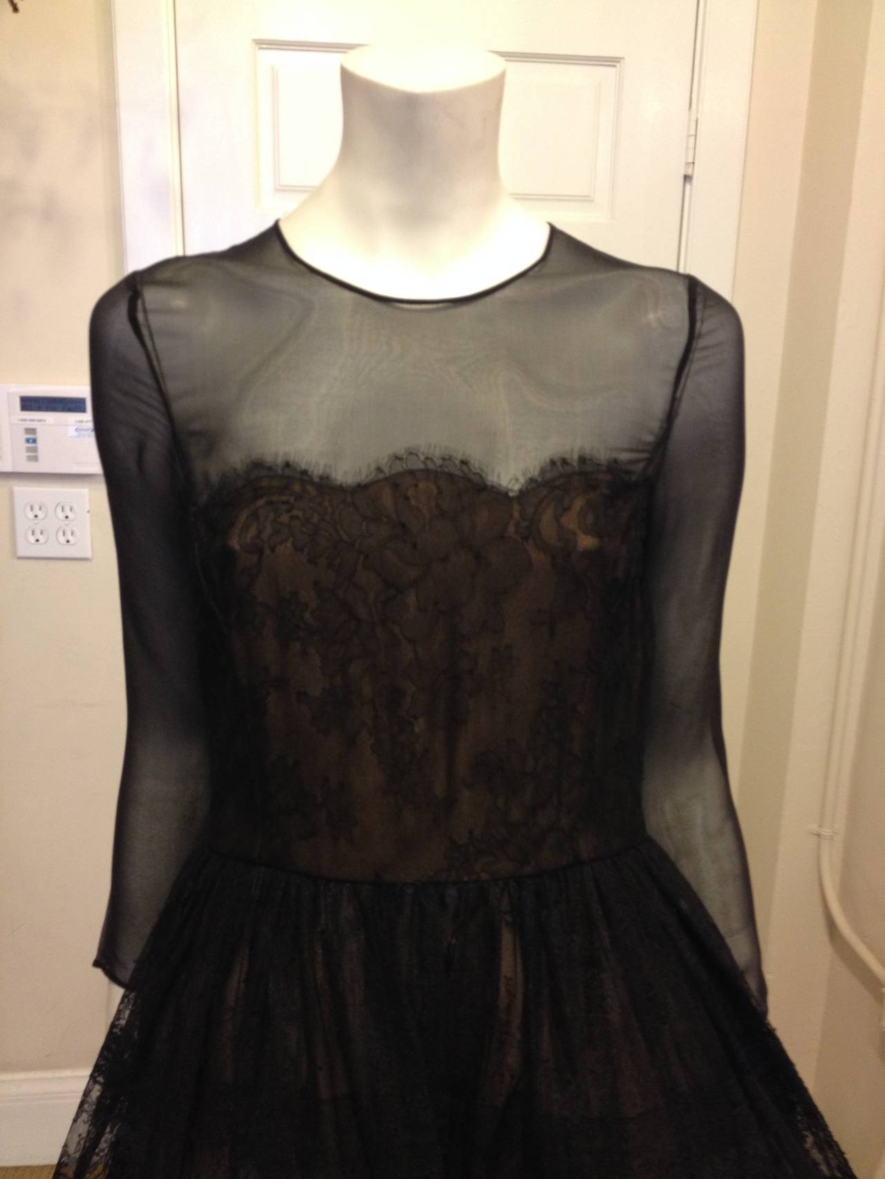 Oscar de la Renta Black Sheer Lace Dress 4