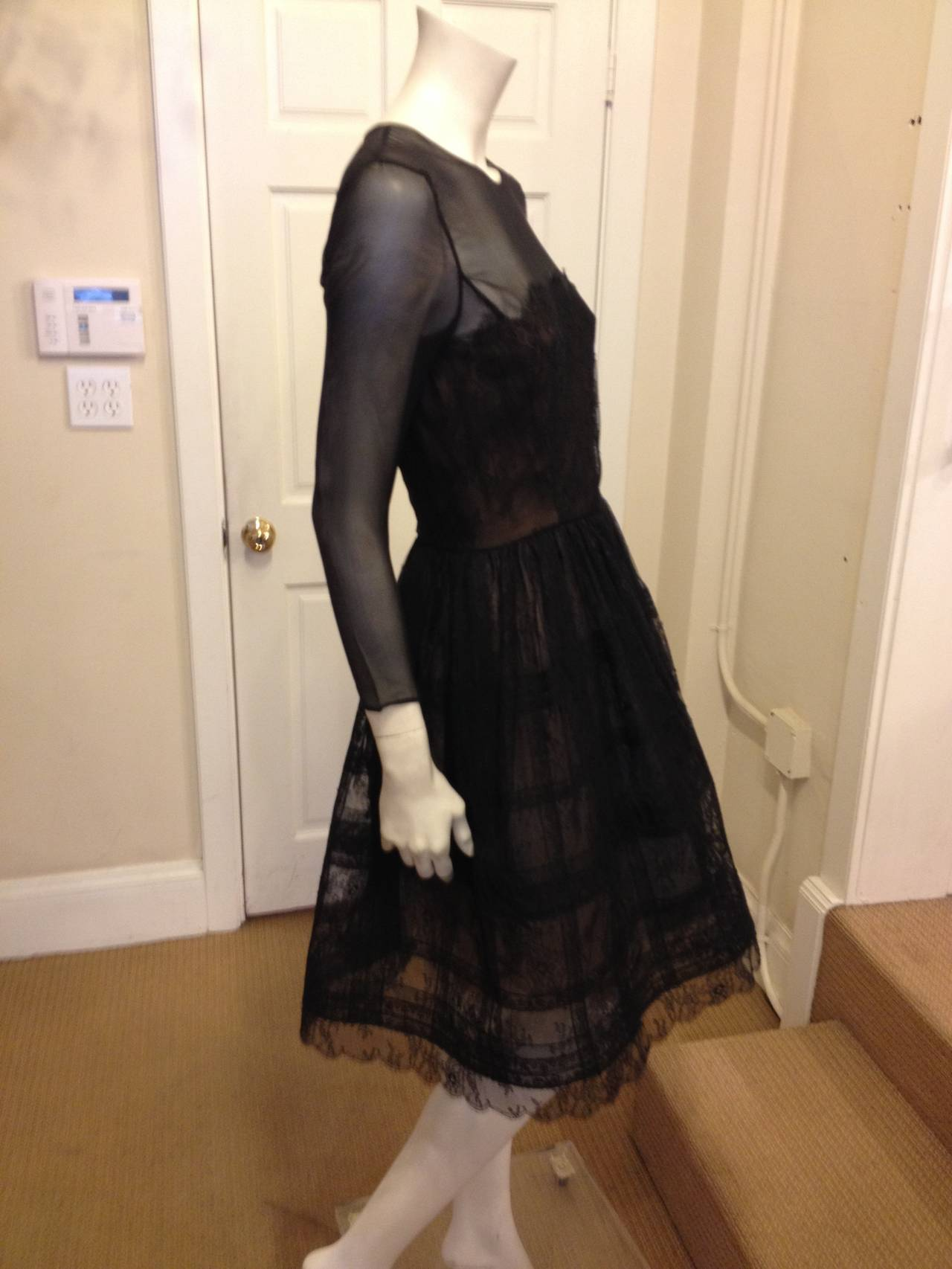 Oscar de la Renta Black Sheer Lace Dress 2