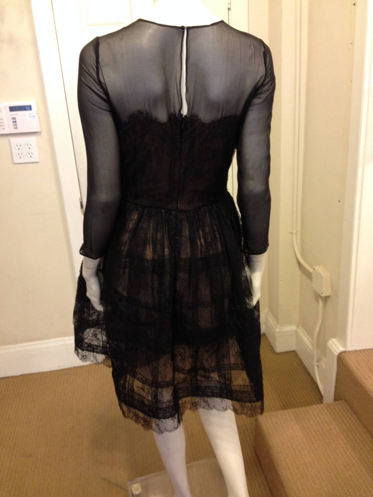 Oscar de la Renta Black Sheer Lace Dress 3