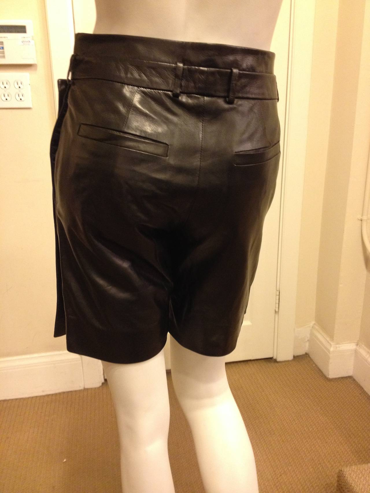 Givenchy Black Leather Skort In Excellent Condition For Sale In San Francisco, CA