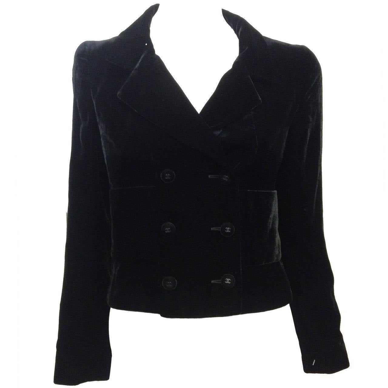 Chanel Black Velvet Cropped Peacoat For Sale
