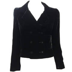 Chanel Black Velvet Cropped Peacoat