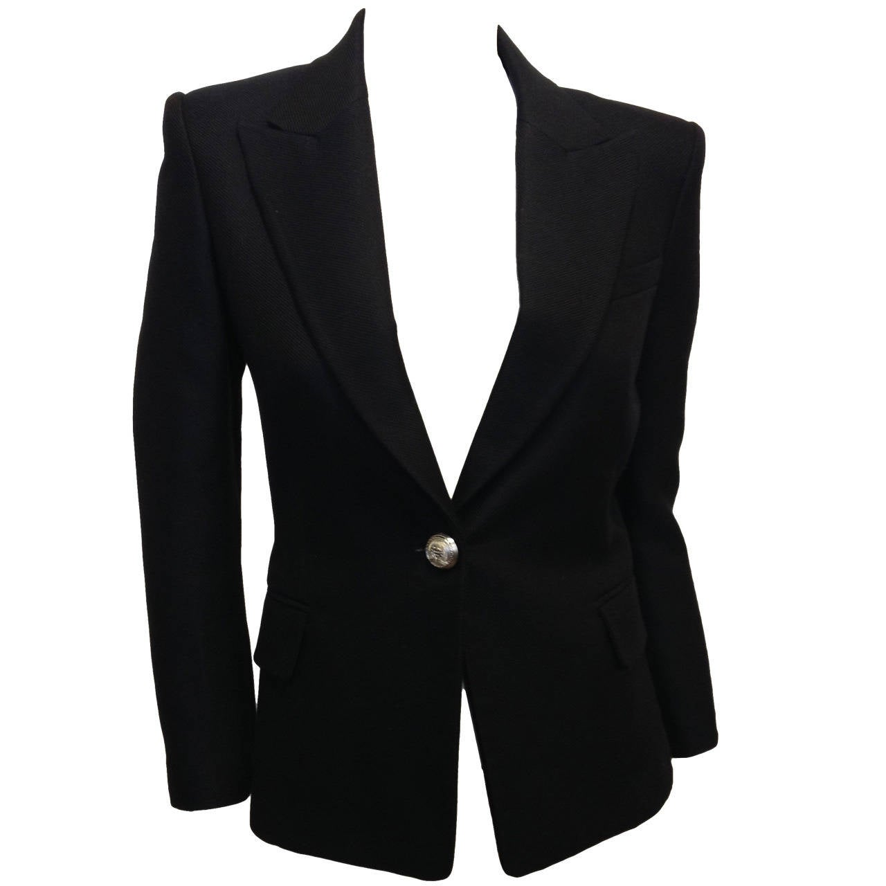 Balmain Black Blazer with Silver Buttons