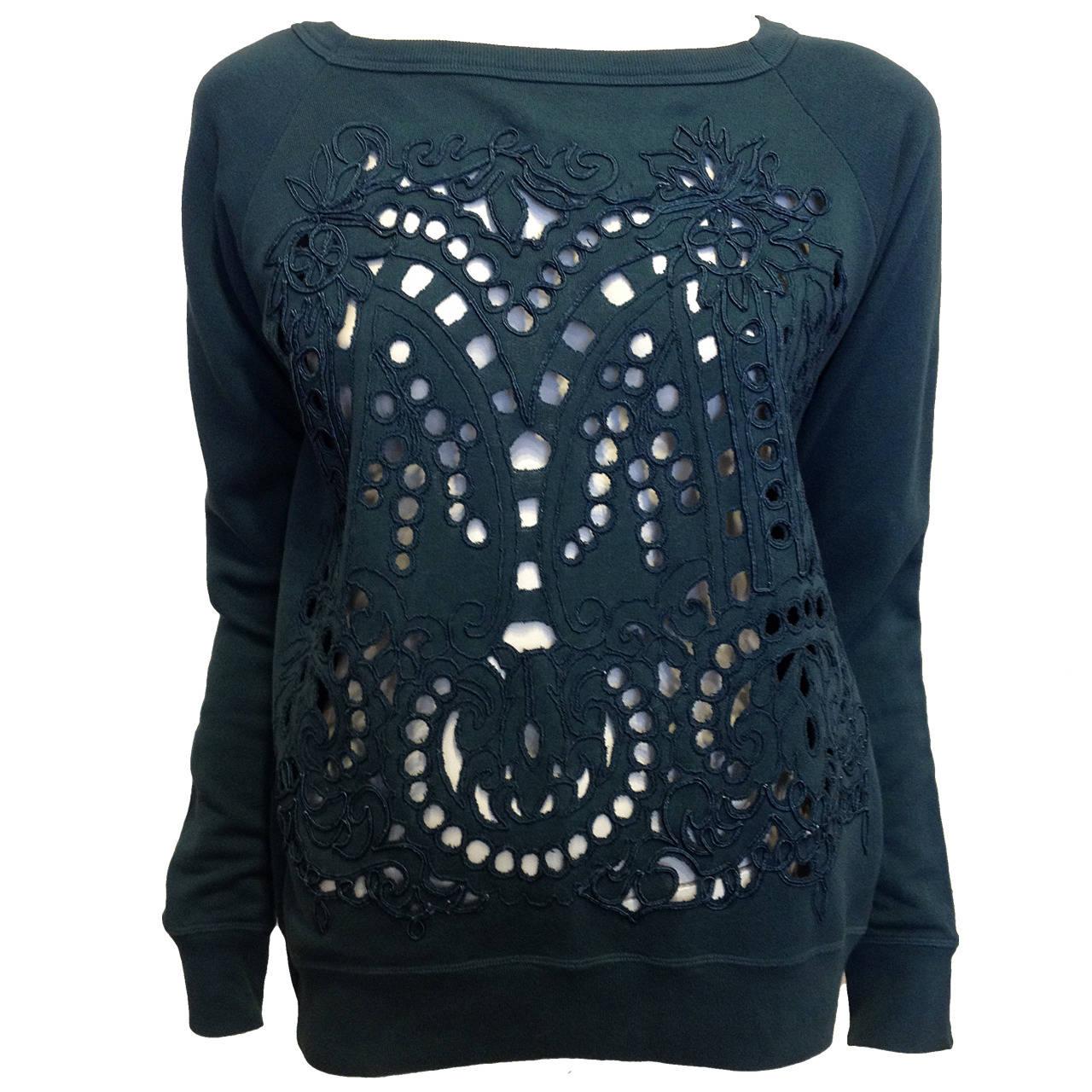 Dries Van Noten Teal Green Cutout Embroidered Sweatshirt 1
