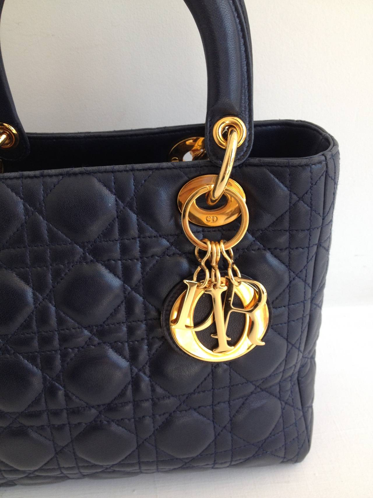 Christian Dior Navy Quilted Lady Dior Bag At 1stdibs