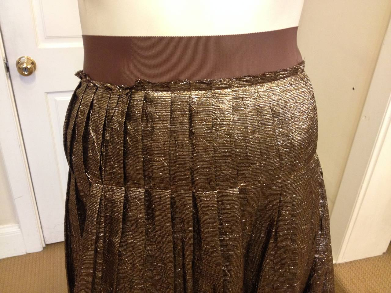 Lanvin Bronze Glittery Pleated Skirt In New never worn Condition For Sale In San Francisco, CA