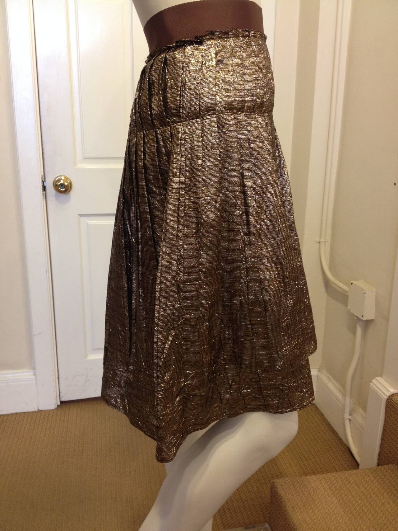 Lanvin Bronze Glittery Pleated Skirt 2