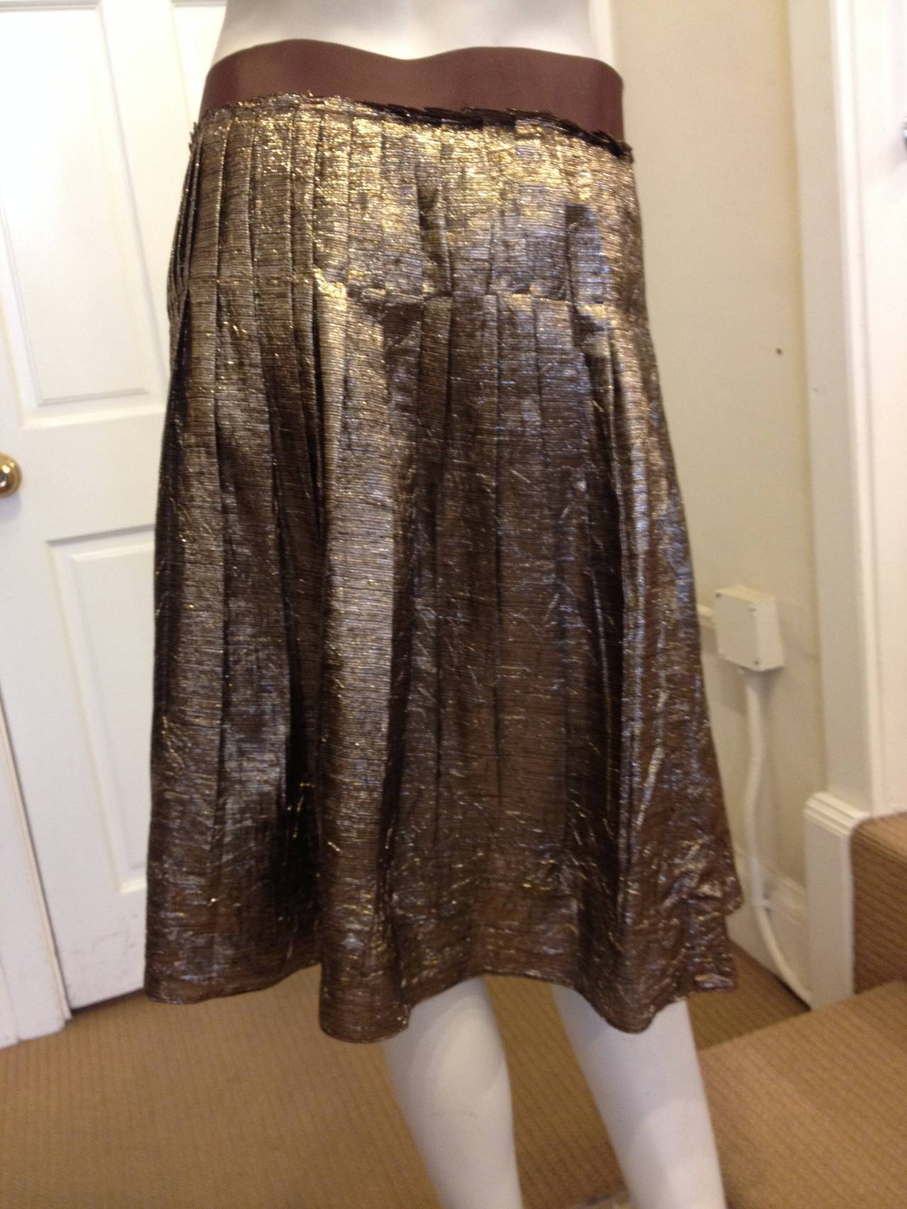 Lanvin Bronze Glittery Pleated Skirt 3