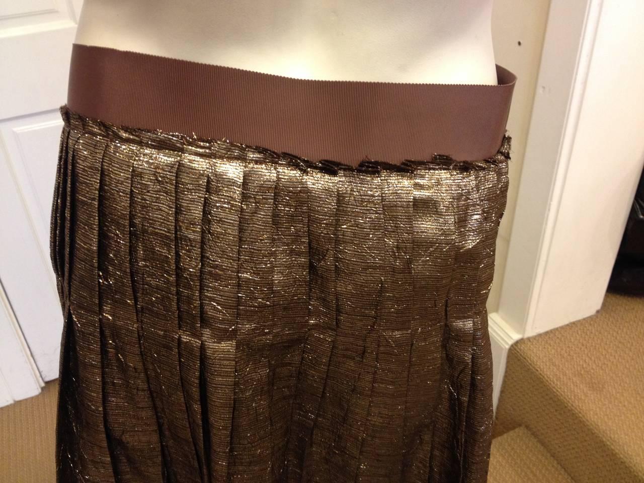 Women's Lanvin Bronze Glittery Pleated Skirt For Sale