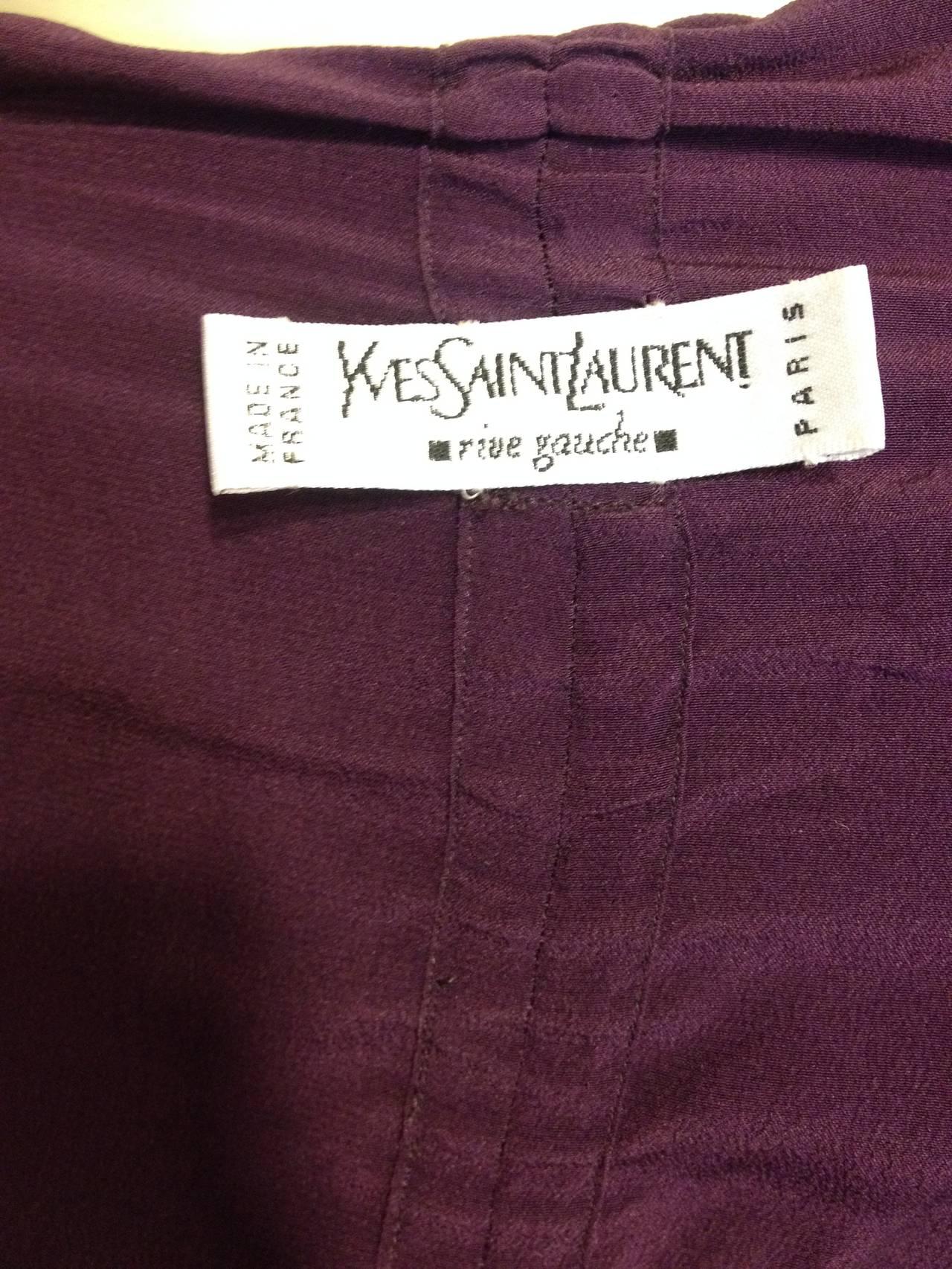 Yves Saint Laurent Purple Ruched Blouse For Sale 2