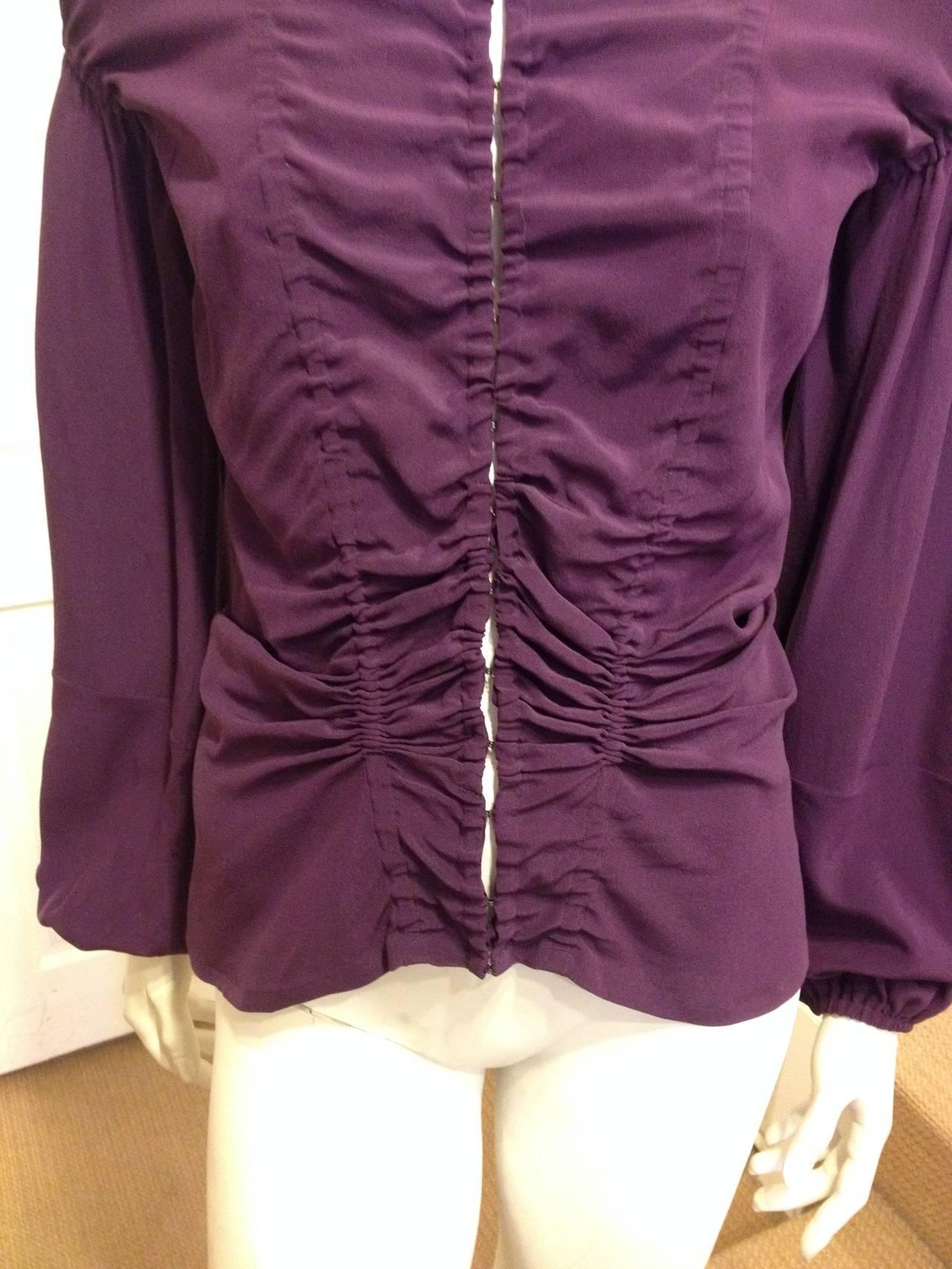 Black Yves Saint Laurent Purple Ruched Blouse For Sale