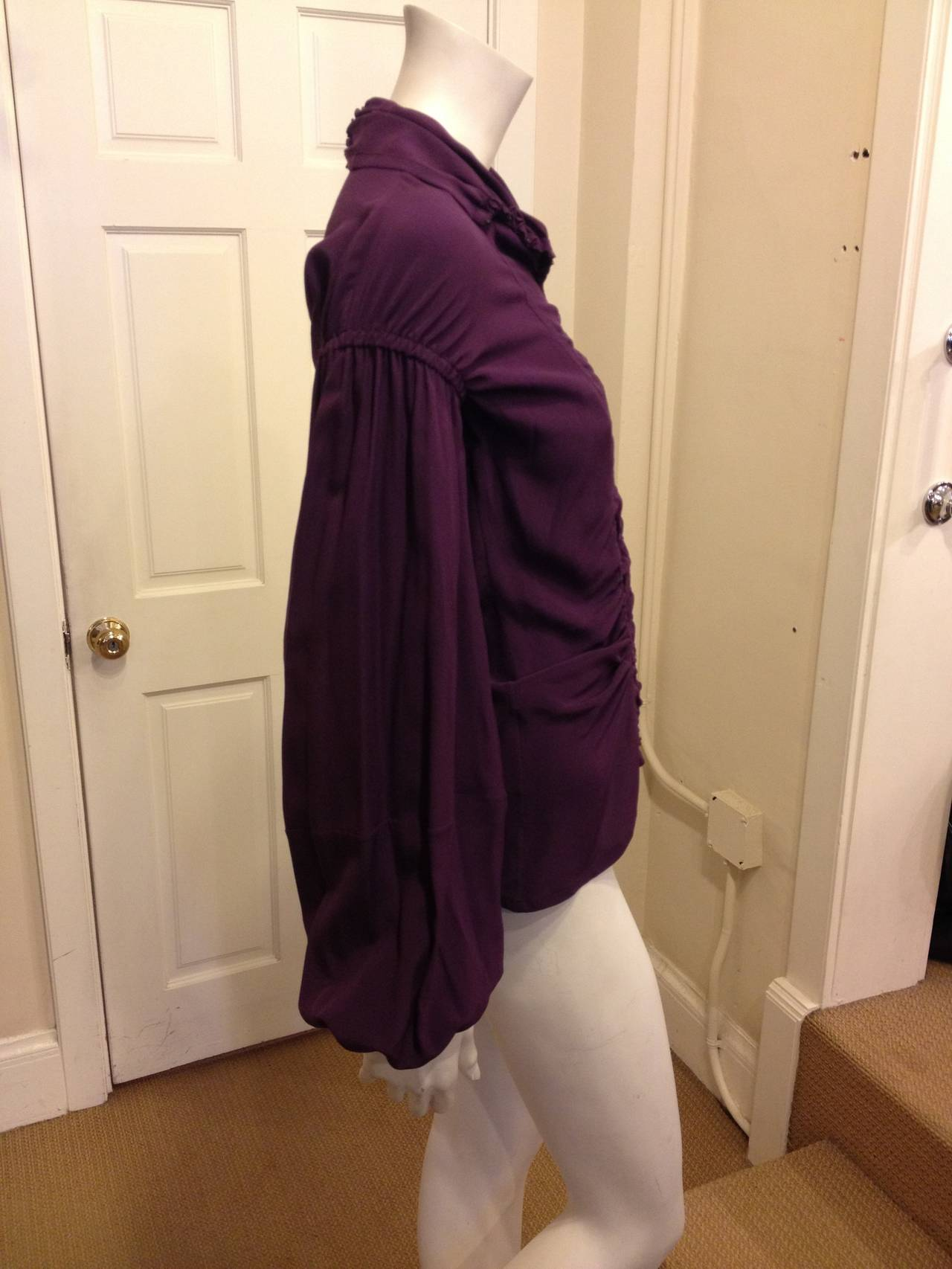 Yves Saint Laurent Purple Ruched Blouse In Excellent Condition For Sale In San Francisco, CA