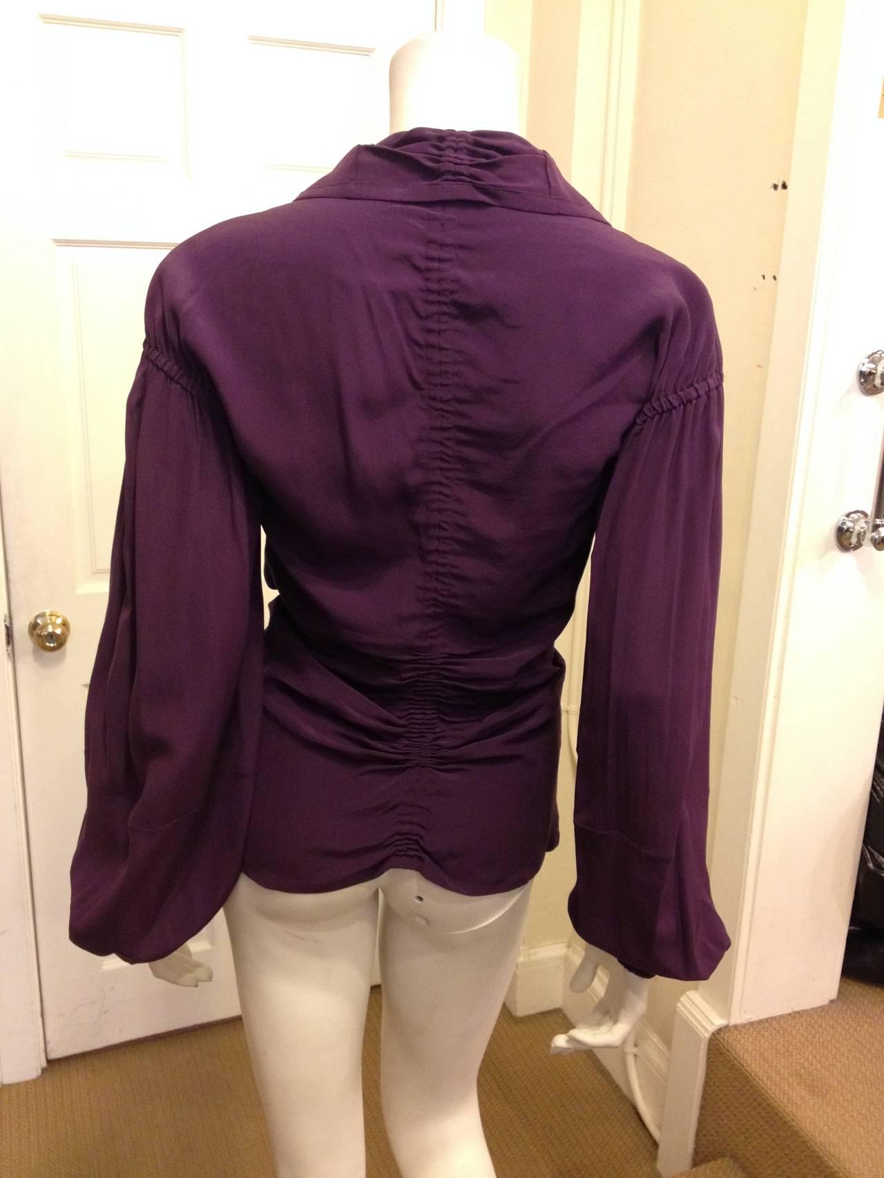 Women's Yves Saint Laurent Purple Ruched Blouse For Sale
