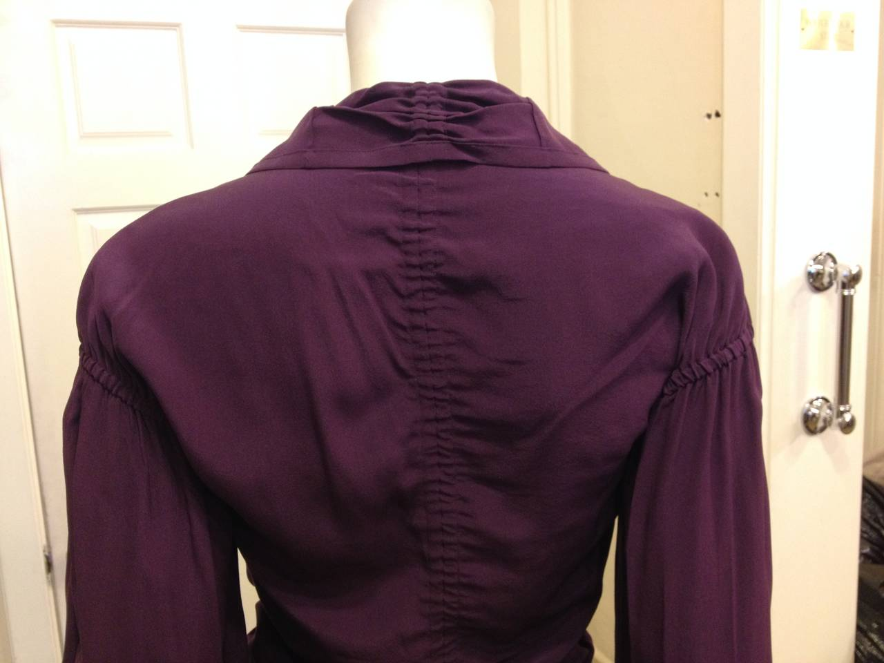 Yves Saint Laurent Purple Ruched Blouse For Sale 1