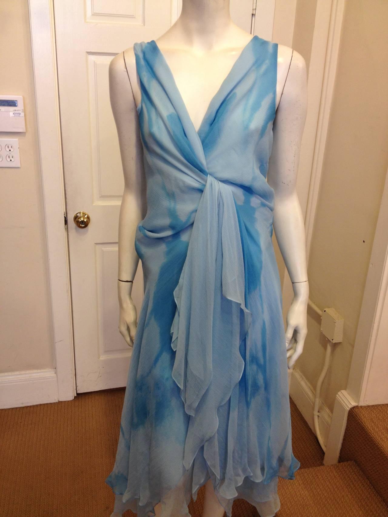 Donna Karan Blue Chiffon Dress 2