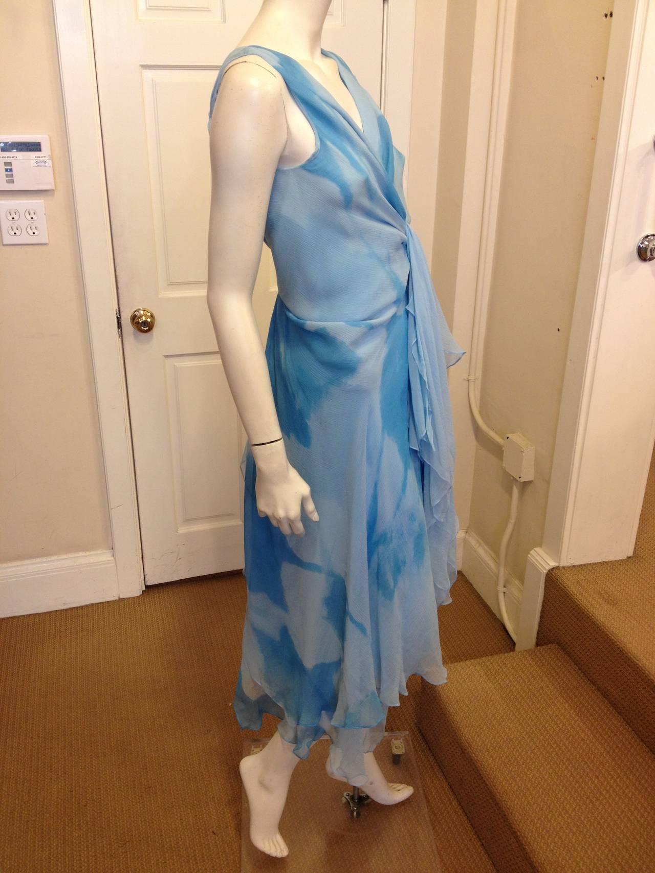 Donna Karan Blue Chiffon Dress 3