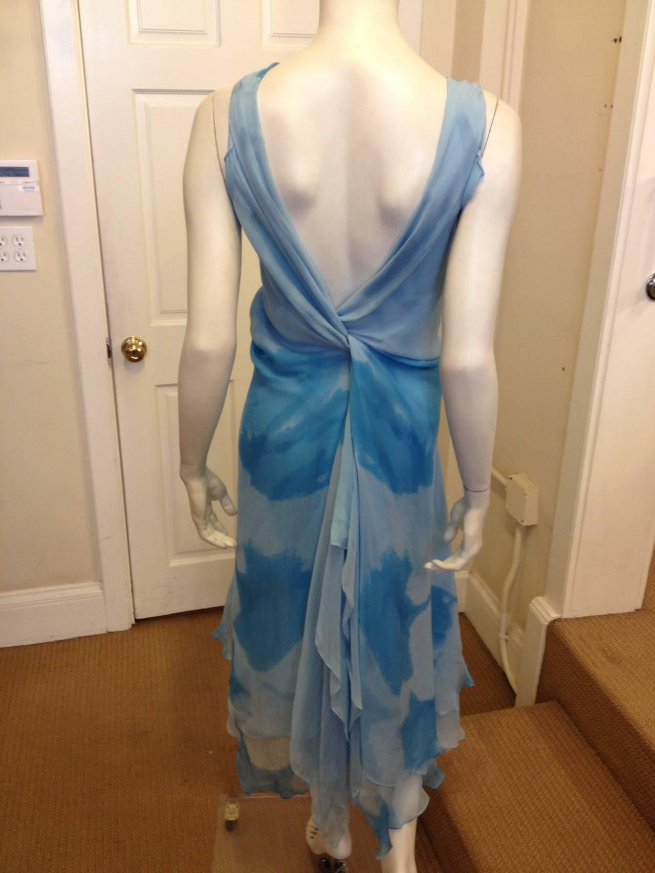 Donna Karan Blue Chiffon Dress 4