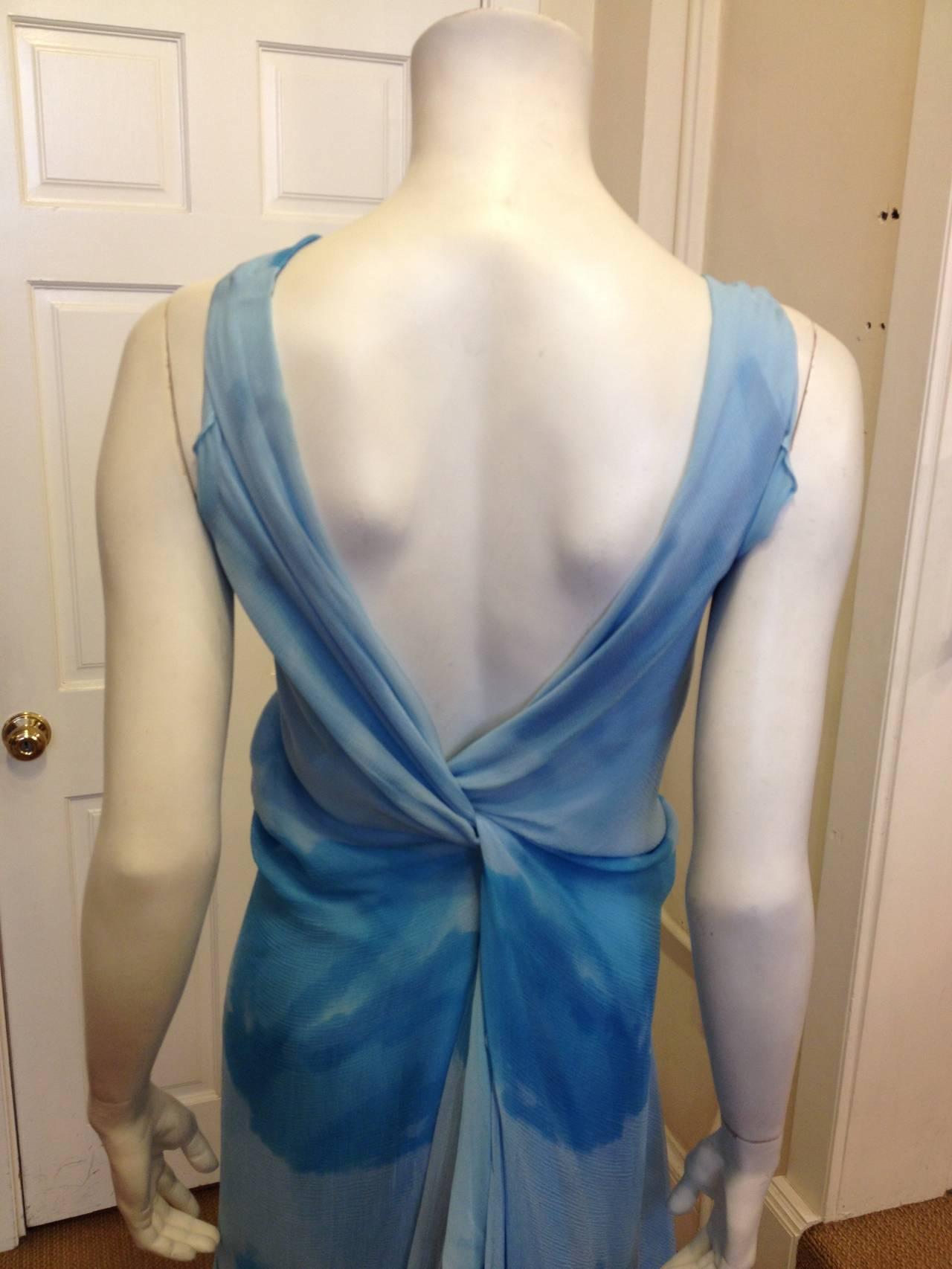 Donna Karan Blue Chiffon Dress 5