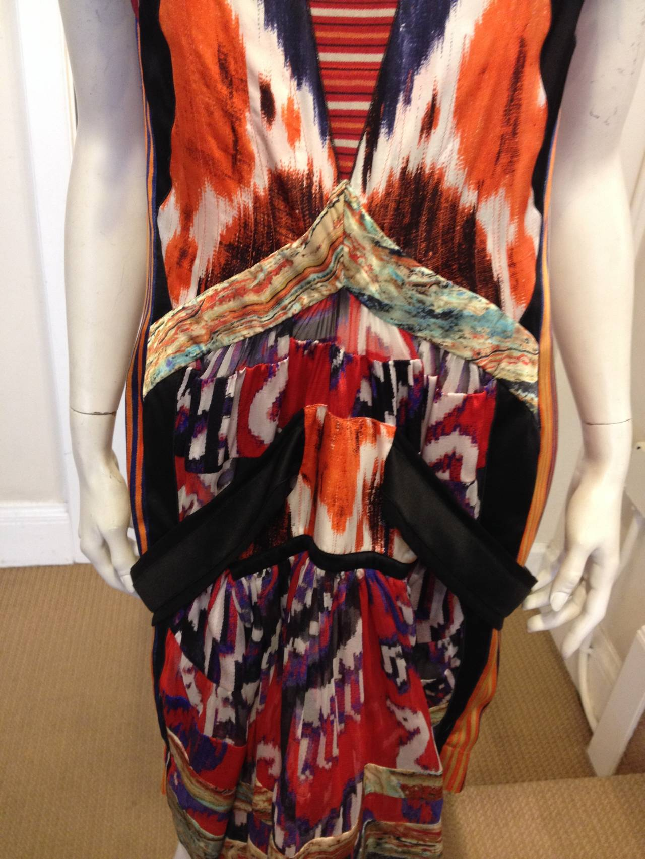 Balenciaga Orange And Black Silk Multi Ikat Dress At 1stdibs