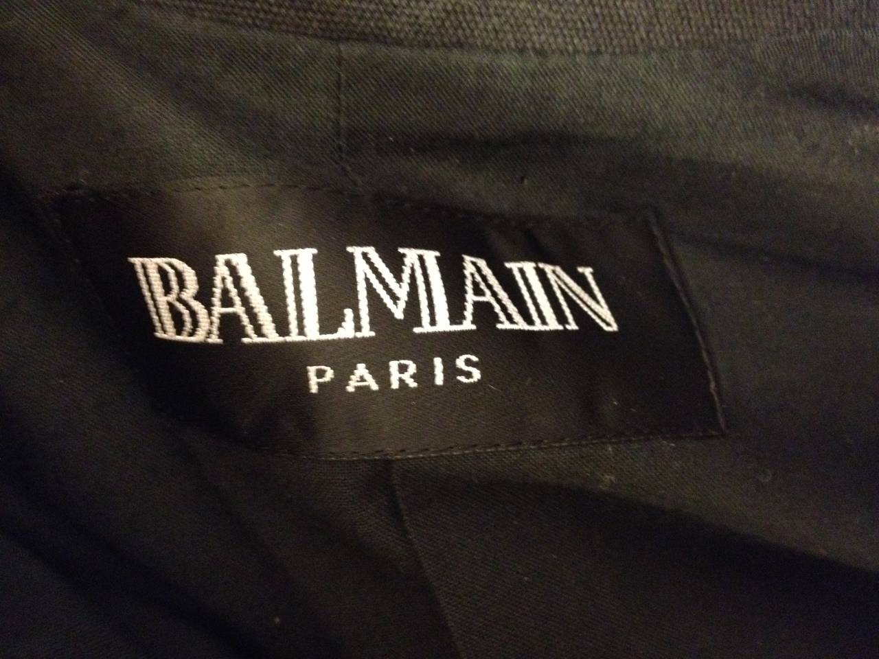 Balmain Charcoal Military Blazer with Forest Green Embroidery 5