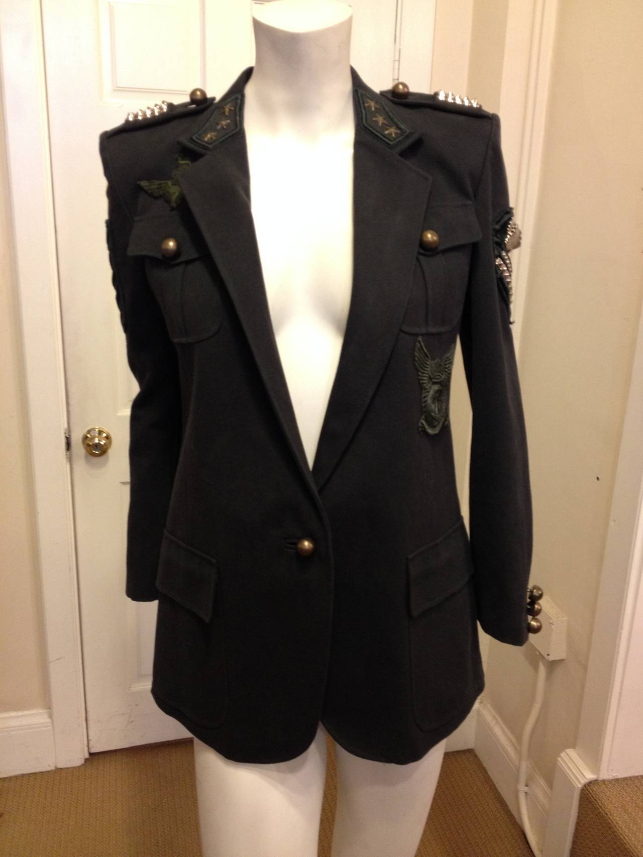 Balmain Charcoal Military Blazer with Forest Green Embroidery 2