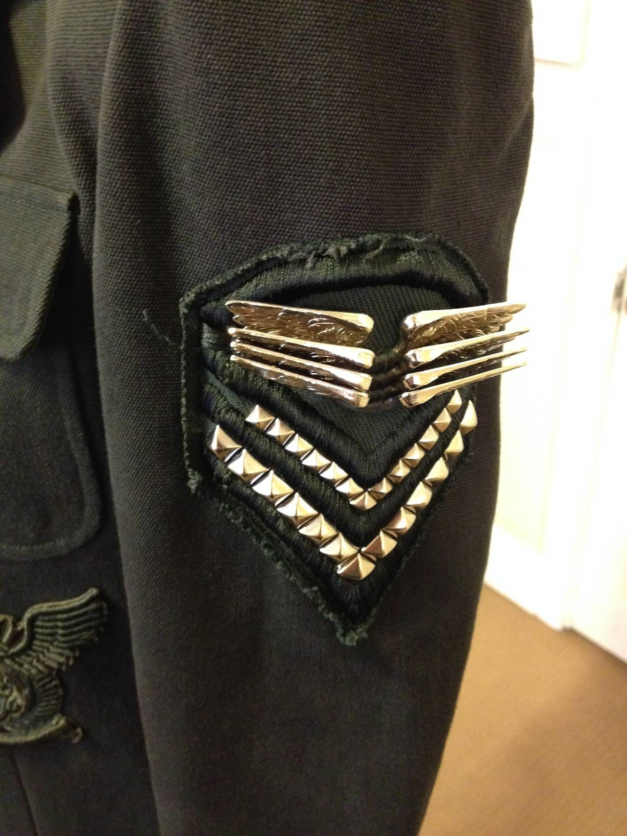 Black Balmain Charcoal Military Blazer with Forest Green Embroidery For Sale