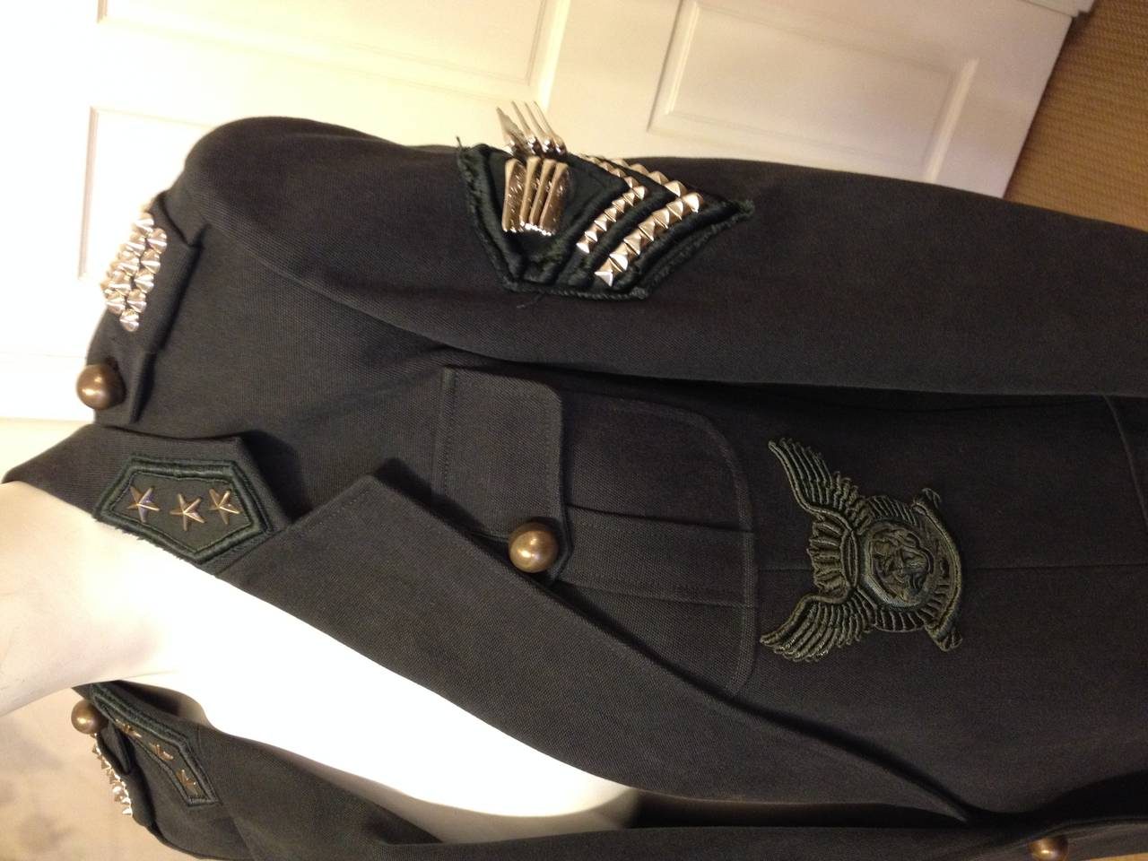 Balmain Charcoal Military Blazer with Forest Green Embroidery In Excellent Condition For Sale In San Francisco, CA