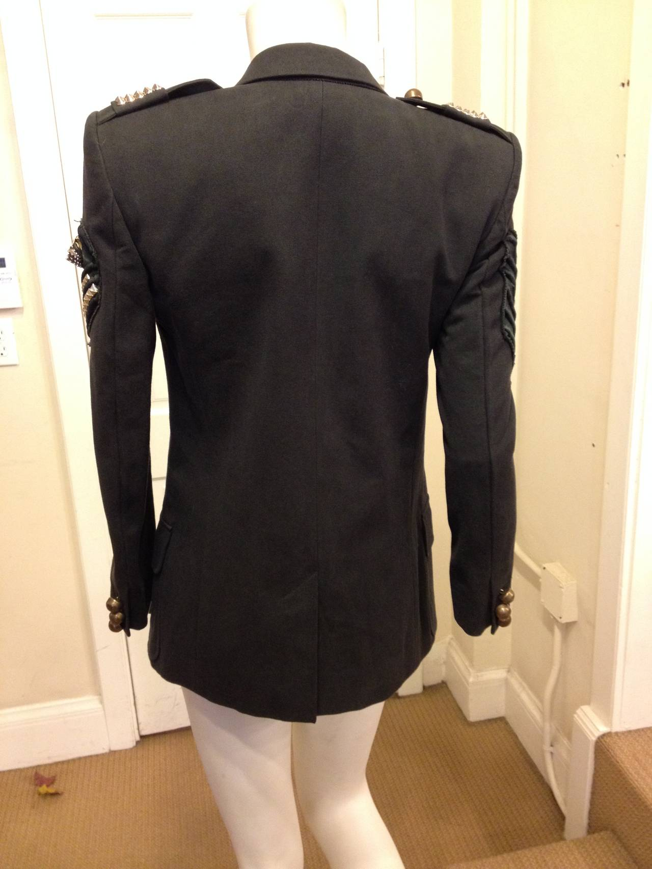 Balmain Charcoal Military Blazer with Forest Green Embroidery For Sale 1