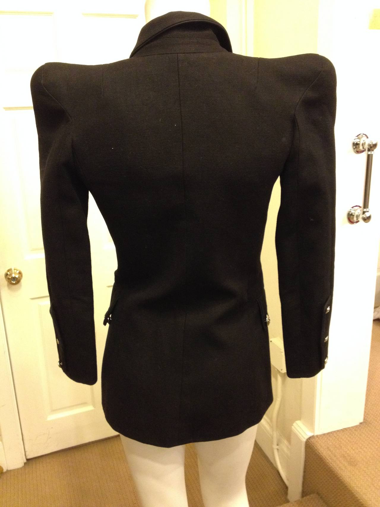 Balmain Black Military Jacket With Silver Buttons At 1stdibs